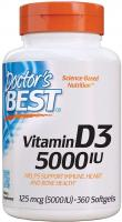 Doctor's Best Vitamin D3 5000iu, Non-GMO, Gluten Free, Soy Free 360 Softgels