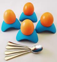Porter's Home and Family Silicone Egg Cups and Stainless Steel Demitasse Egg Spoons Set of 4 color S…