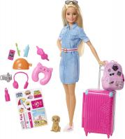 Doll and Travel Set with Puppy by Barbie, Luggage & 10+ Accessories