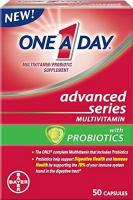 One A Day Advanced Series Multivitamins with Probiotics, 50 Capsules (Pack of 2)