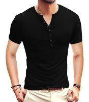 Mens Casual Slim Fit Basic Henley Short/Long Sleeve Fashion T-Shi