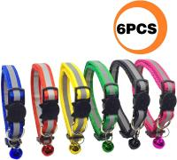 PACCOMFET FUNPET 6 Pcs Breakaway Cat Collar Reflective Nylon Strip Bell, Safe Durable