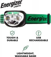 VISION LED Headlamp Flashlight 400 High Lumens IPX4 Water Resistant by Energizer