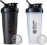 Classic Loop Top Shaker Bottle by Blender Bottle, 28-Ounce 2-Pack, All Black and Clear/Black