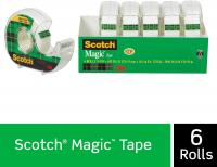Magic Tape, 6 Dispensered Rolls, Writeable, Invisible, The Original by Scotch Brand - 3/4 x 650 Inch…