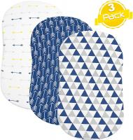 Bassinet Sheet Set by BaeBae Goods | Navy Triangles - 3 Pack…