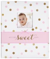 White, Pink and Gold Polka Dot 'Welcome Sweet Baby' Baby Memory Book for Baby Girls by C.R. Gibson…