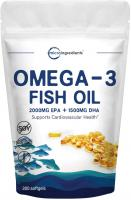 mega-3 Fish Oil Supplement (Burpless) by Micro Ingredients - 3750mg Per Serving, 300 Softgels, EPA 2…
