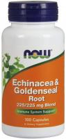 NOW Supplements, Echinacea & Goldenseal Root, 225/225 mg Blend, Immune System Support 100 Capsules
