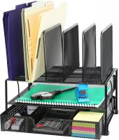 Mesh Desk Organizer with Sliding Drawer by Simple Houseware - Black