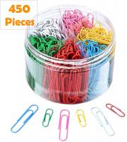 Colorful Paper Clips 450 Pieces Assorted Sizes with 1.1 Inch & 2 Inch Paperclips by spacepower