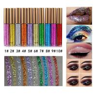 10 Colors Liquid Glitter Eyeliner Metallic Shimmer Glitter Eyeshadow Pigment Eye…